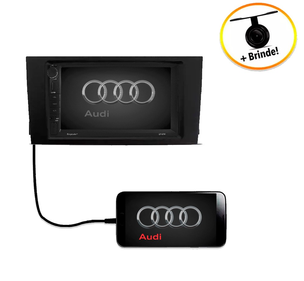 Central Multimídia Audi A3 Sportback 2003 à 2008 TV Digital GPS Espelha IOS e Android