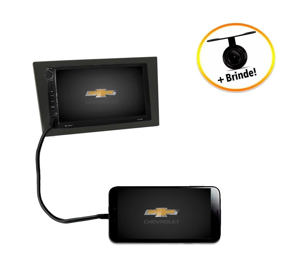 Central Multimídia Chevrolet Montana 2003 à 2011 TV Digital GPS Espelha IOS e Android Moldura Grafite