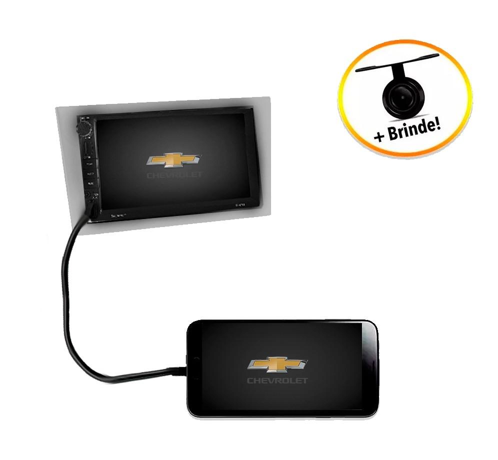 Central Multimídia Chevrolet Montana 2003 à 2011 TV Digital GPS Espelha IOS e Android Moldura Prata