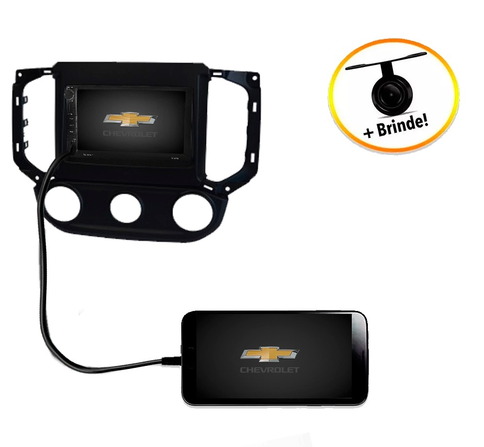 Central Multimídia Chevrolet S10 2016 à 2018 Com Ar Analógico Preta TV Digital GPS Espelha IOS e Android