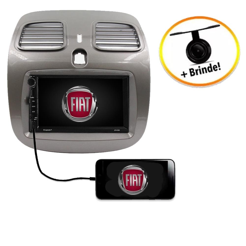 Central Multimídia Fiat Grand Siena TV Digital GPS Espelha IOS e Android