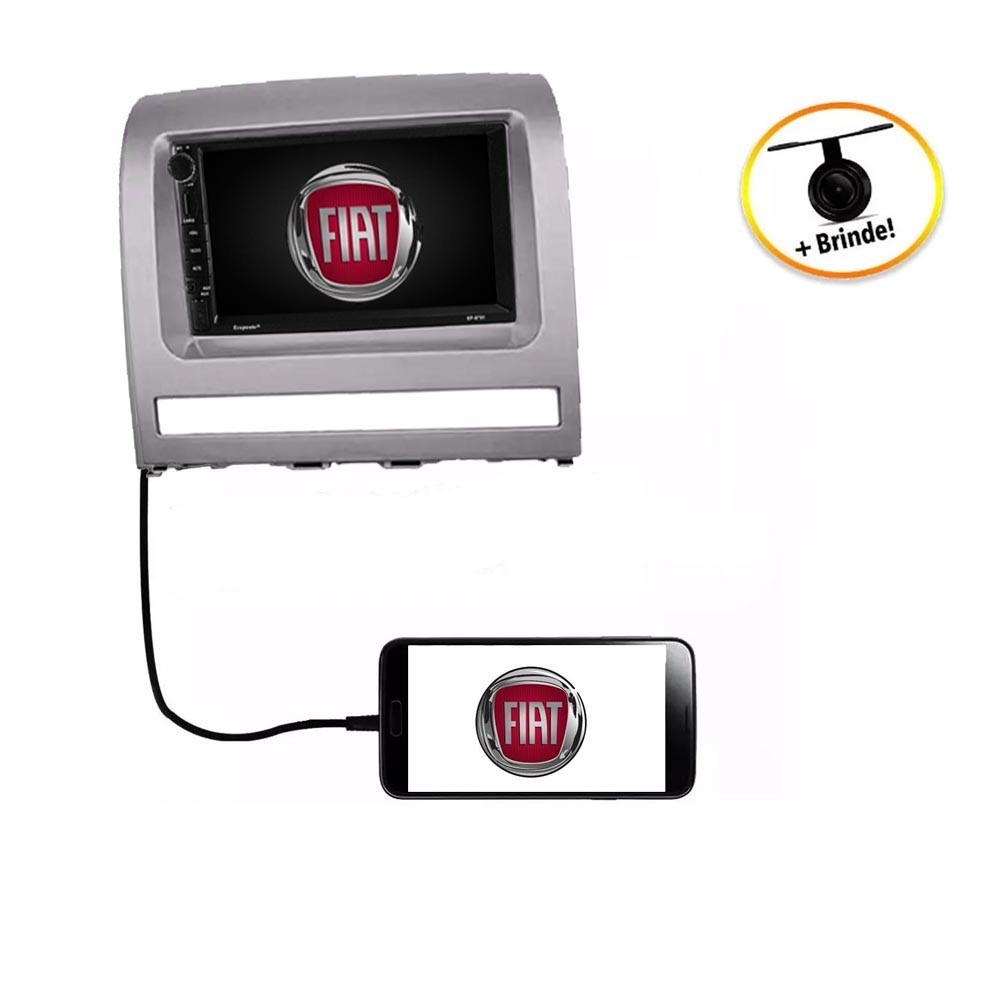 Central Multimídia Fiat Idea  2008 à 2012 TV Digital GPS Espelha IOS e Android
