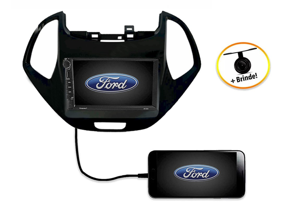 Central Multimídia Ford KA 2018 à 2019 TV Digital GPS Espelha IOS e Android