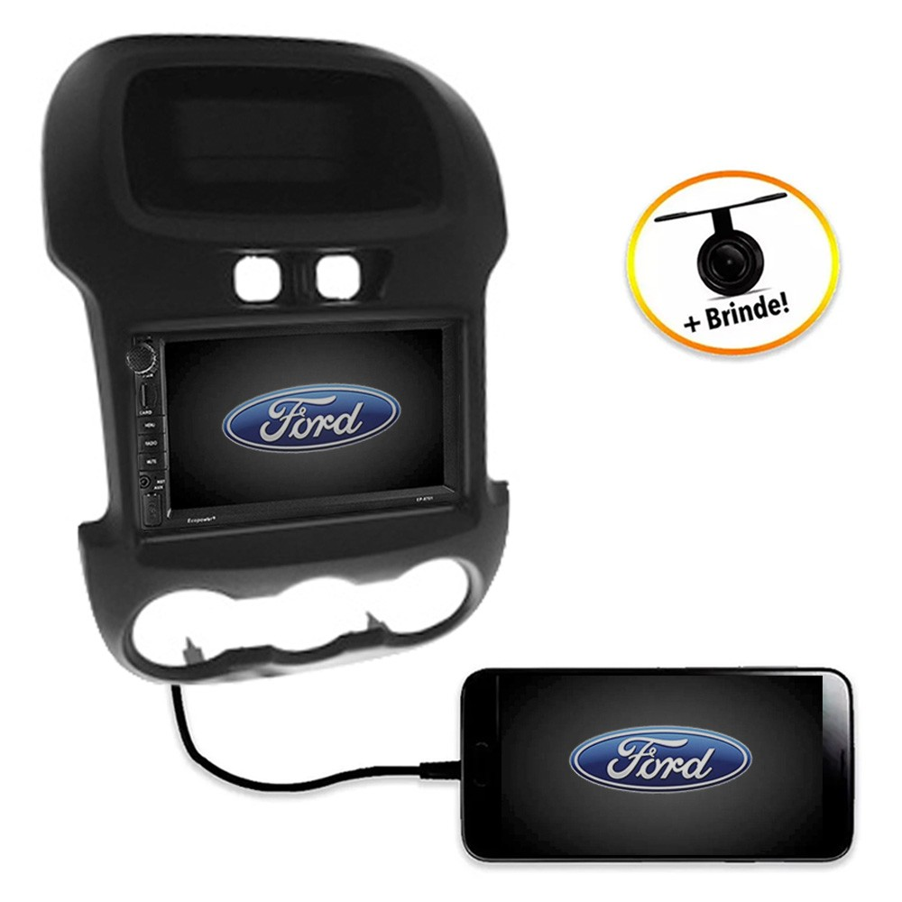 Central Multimídia FORD Ranger XL/XLS 2012 à 2015  TV Digital GPS Espelha IOS e Android