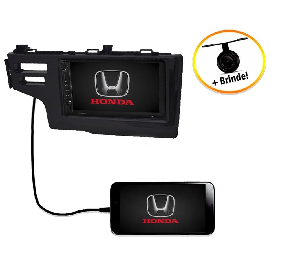 Central Multimídia Honda Fit 2015 à 2019 Geração 3 Com Botão e Air Bag TV Digital GPS Espelha IOS e Android