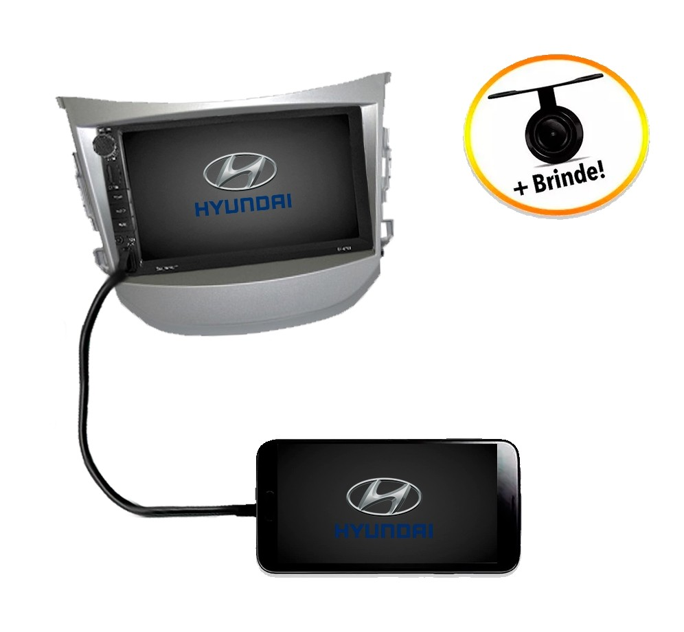 Central Multimídia Hyundai HB20 2012 à 2016  TV Digital GPS Espelha IOS e Android Moldura Prata