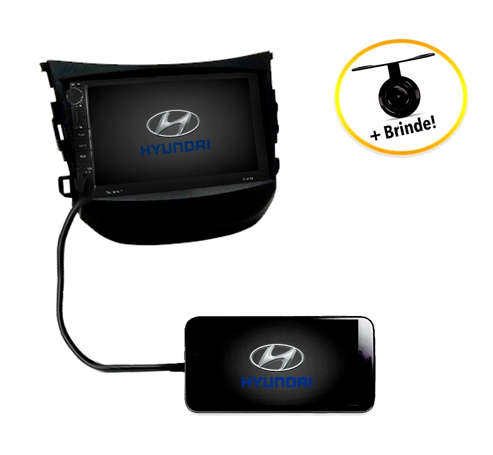 Central Multimídia Hyundai HB20 2012 à 2016 TV Digital GPS Espelha IOS e Android Moldura Preta