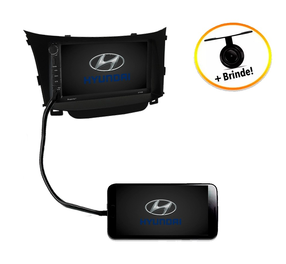 Central Multimídia Hyundai I30 2014 à 2015 TV Digital GPS Espelha IOS e Android