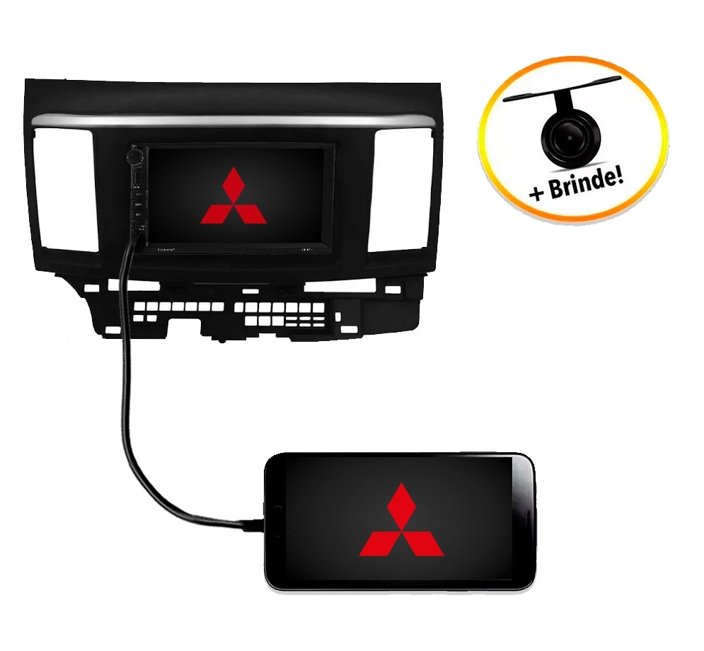 Central Multimídia Mitsubishi Lancer 2008 à 2013 TV Digital GPS Espelha IOS e Android