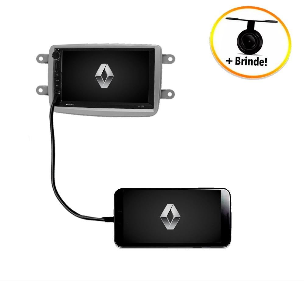 Central Multimídia Renault Captur TV Digital GPS Espelha IOS e Android Moldura Prata