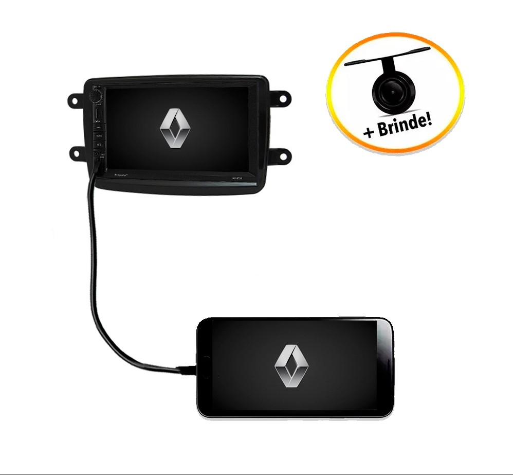 Central Multimídia Renault Logan TV Digital GPS Espelha IOS e Android Moldura Preta