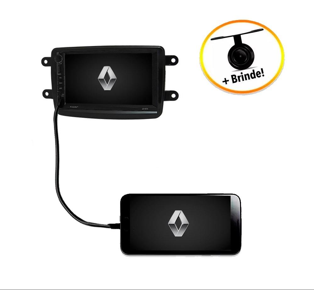 Central Multimídia Renault Sandero TV Digital GPS Espelha IOS e Android Moldura Preta