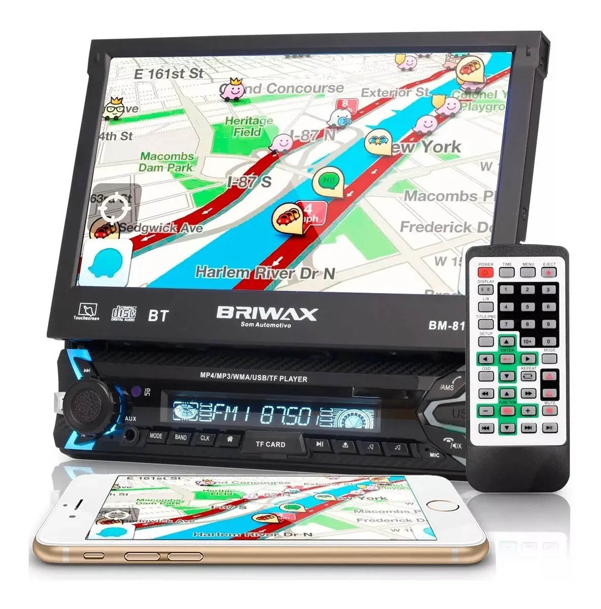 Central Multimídia Retrátil 7 Polegadas Bluetooth Usb Touch Gps