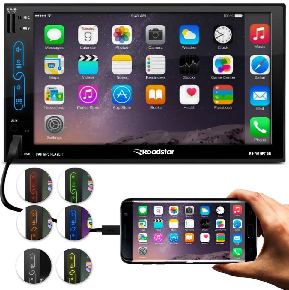 Central Multímidia Roadstar 2 Din com Tv Digital Gps Espelhamento de Android E Ios