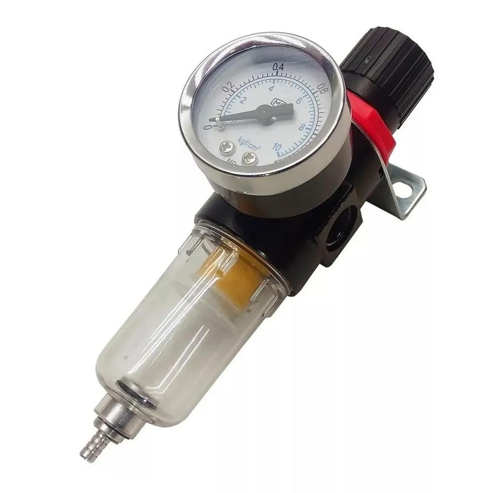 Filtro de Ar Compressor Pneumático com Regulador de Pressão 1/4