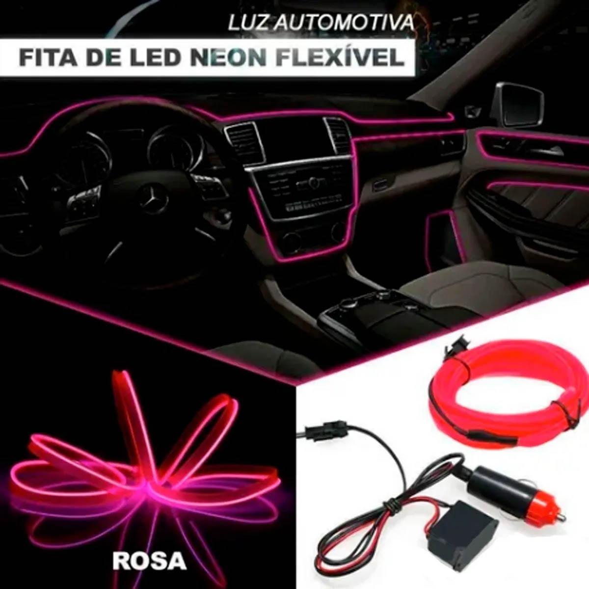 Fita Led Rosa 5 Metros Painel Inteiro De Carro Neon