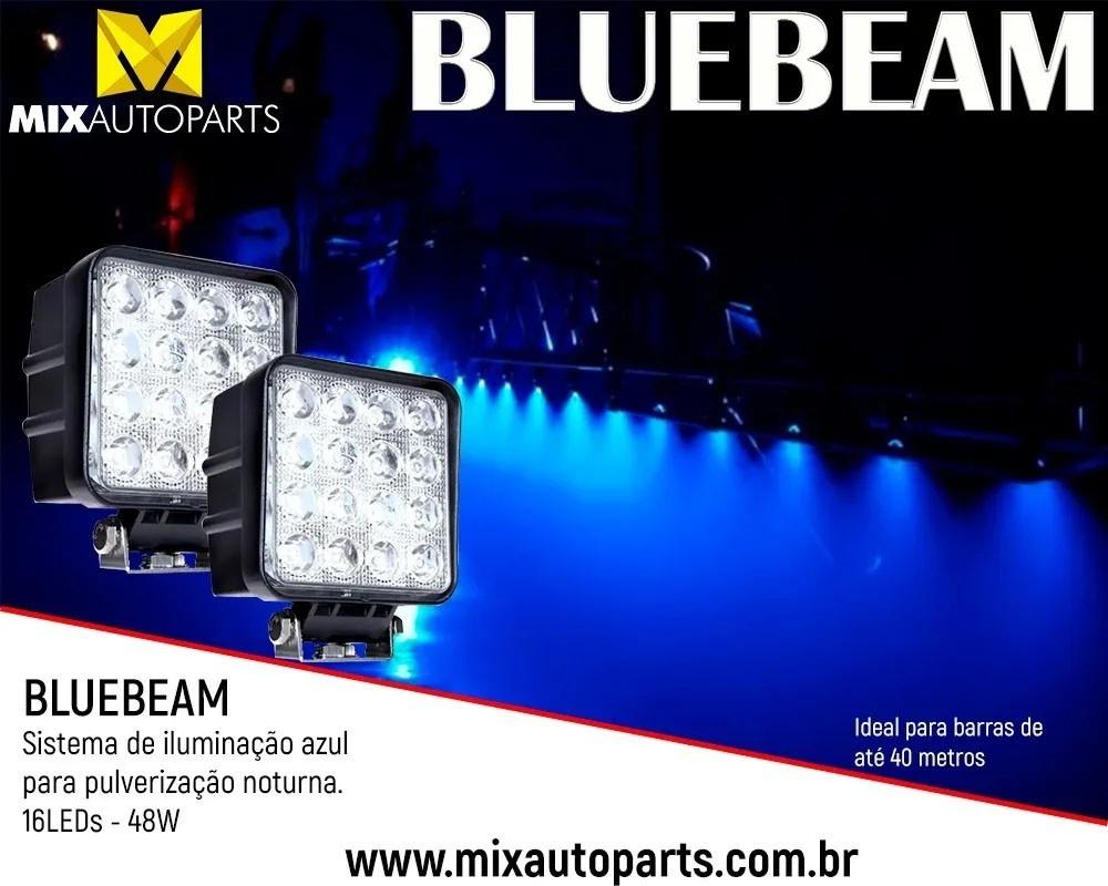 Kit 04 Unidades de Farol de Led Azul Blue Beam 16 Leds 48w Pulverizador Agrícola