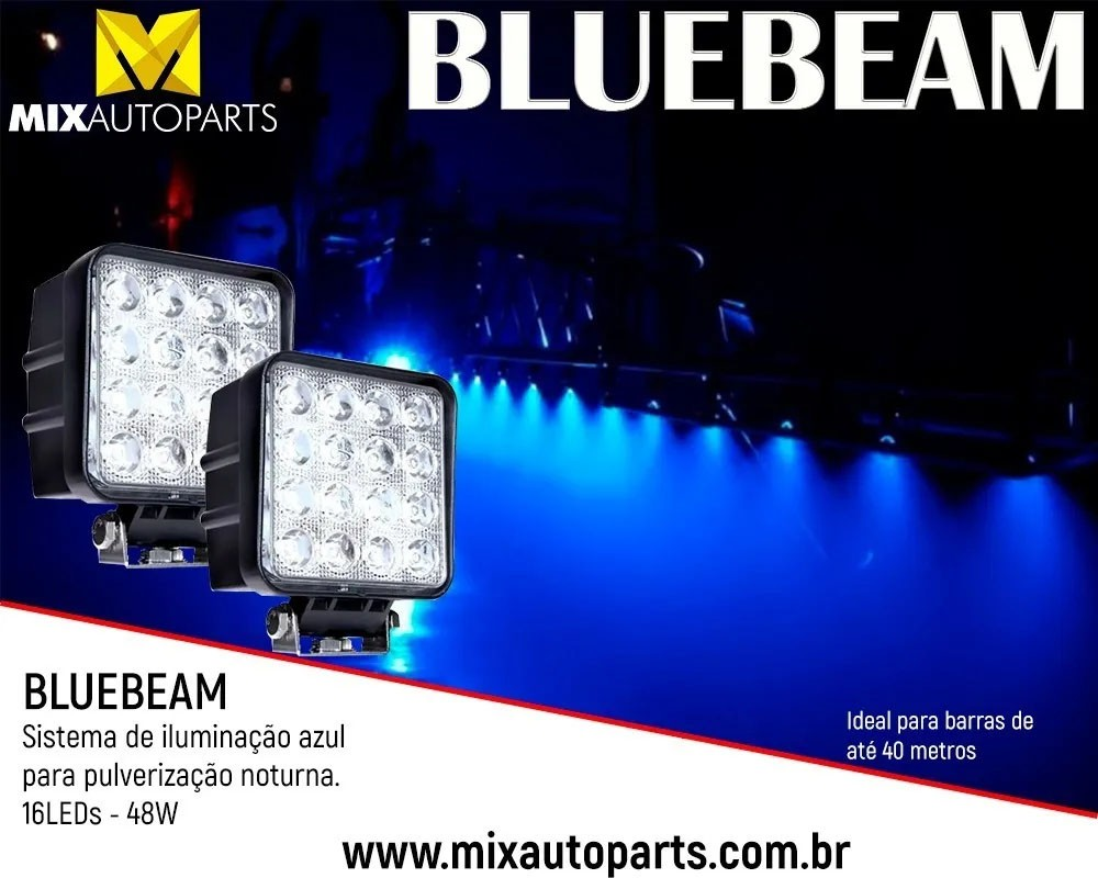 Kit  45  Unidade  de Farol de Led Azul Blue Beam 16 Leds 48w Pulverizador Agrícola