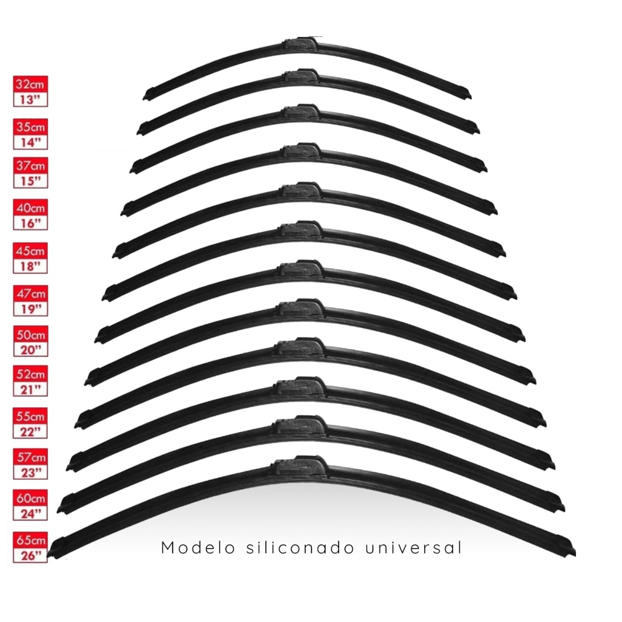 Kit com 40 Palhetas Siliconada Universal Limpa Parabrisa