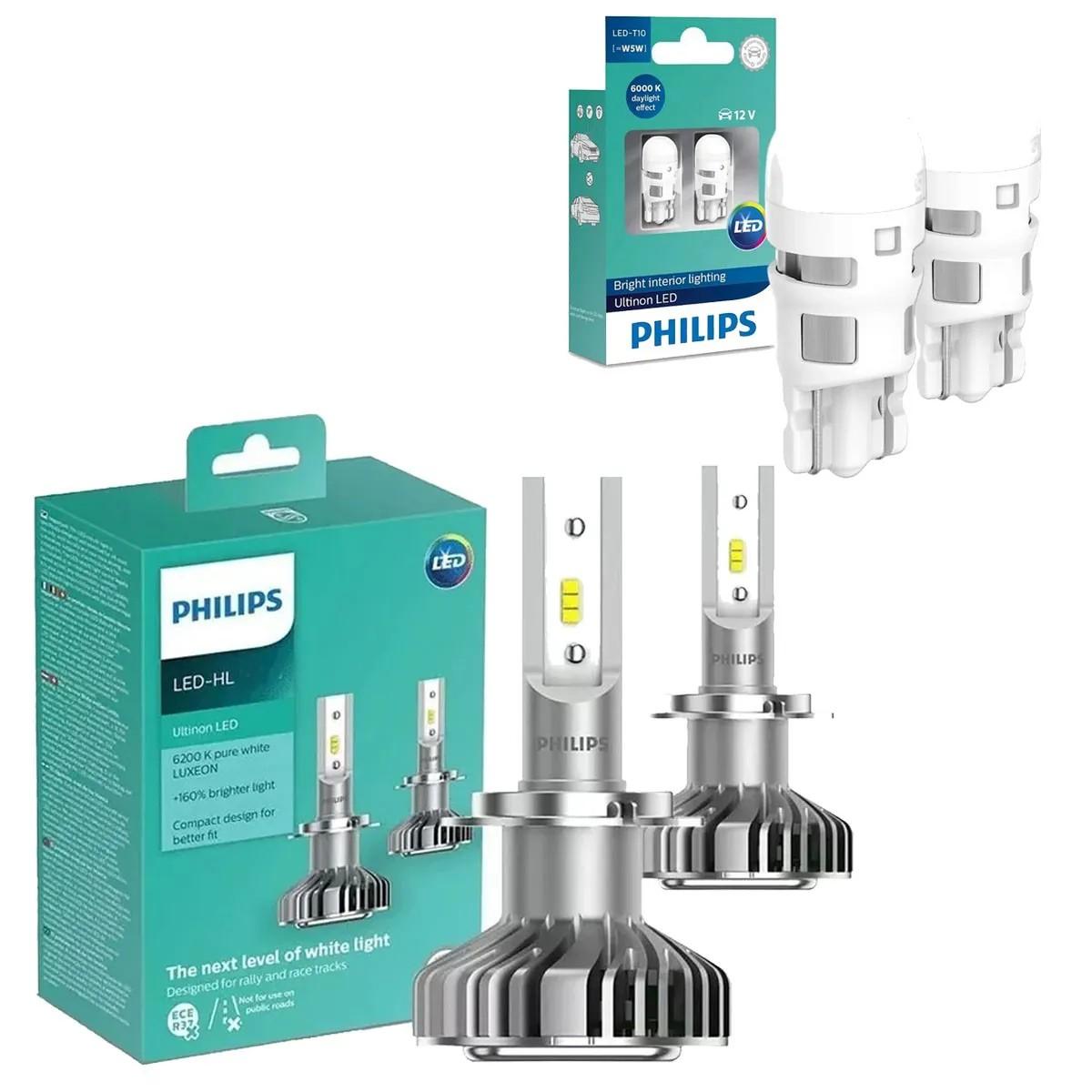 Kit Lâmpadas Led Philips Ultinon 6200k Original Lacrado Par de HB3 Par de H11 Par de Pingo T10