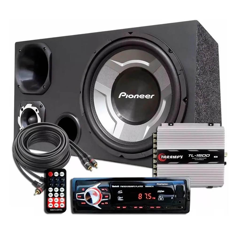 Kit Som Caixa Trio Subwoofer Pioneer Aparelho Auto Rádio Bluetooth Módulo Taramps