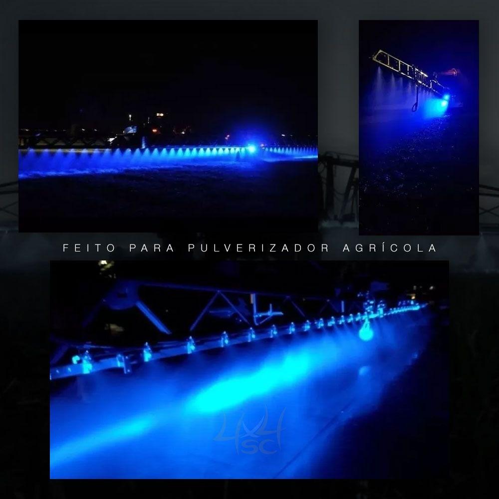 Par Farol Led Azul Blue Beam 16 Leds 48w Trilha Pulverizador Agrícola