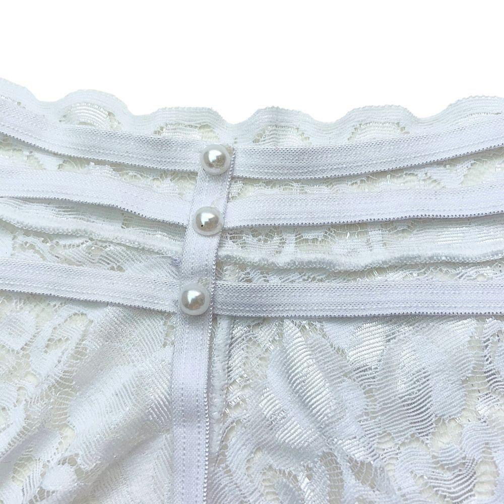Calcinha Fio Dental Rendada com Tiras e Detalhes em Pérola Branca
