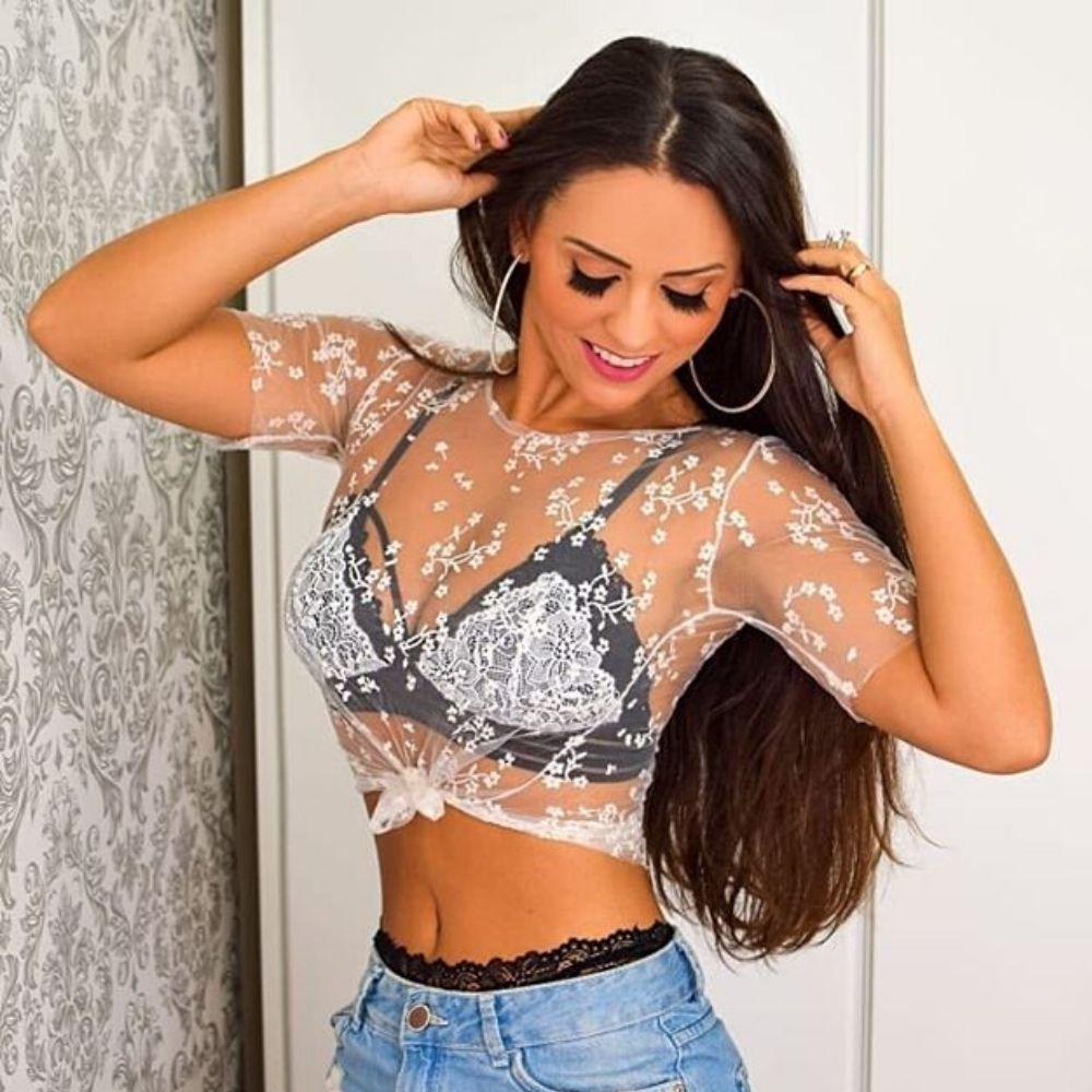 Conjunto Calcinha e Sutiã Strappy com Renda Floral Super Sexy e Confortável
