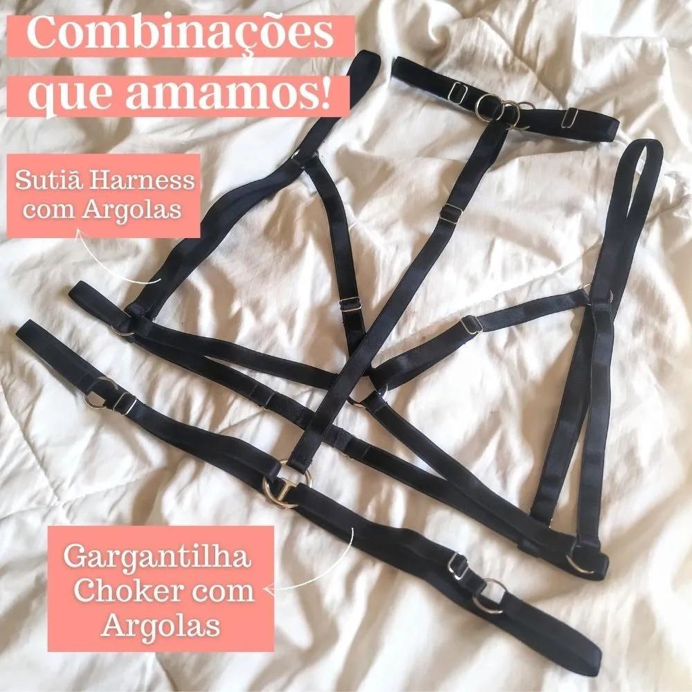 Gargantilha Preta Choker Harness com Argolas