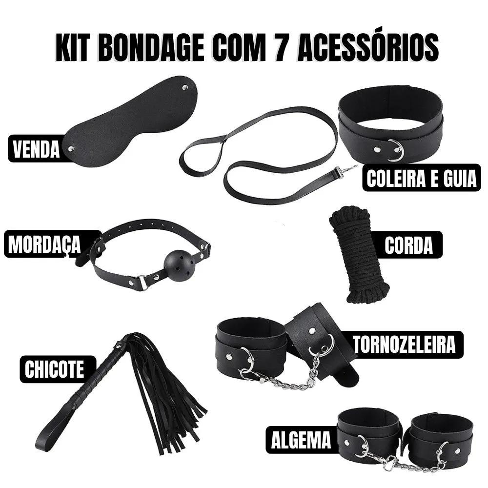 Kit Bondage Sado Completo com 7 Itens