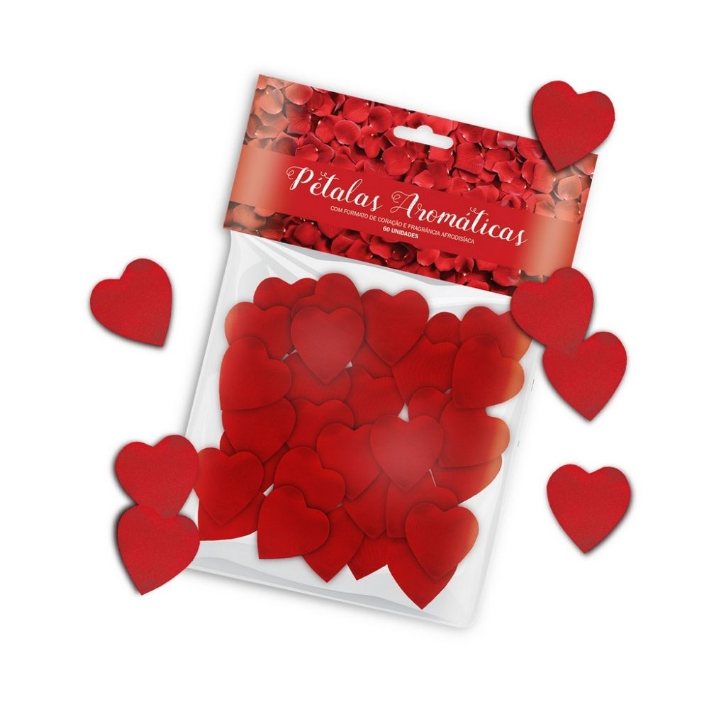 Pétalas Aromáticas em Formato de Coração com Fragrância Afrodisíaca 60 unidades