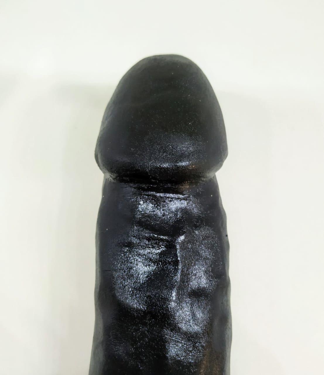Prótese Pênis Realístico Maciça Preta 28 x 5,4 cm Garanhão Black