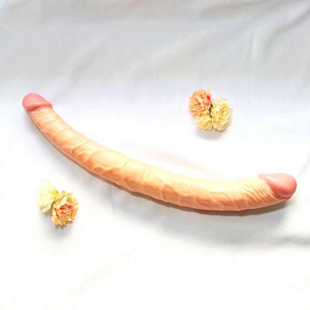 Prótese Pênis Duplo Bege com Veias Salientes 36 x 4 cm