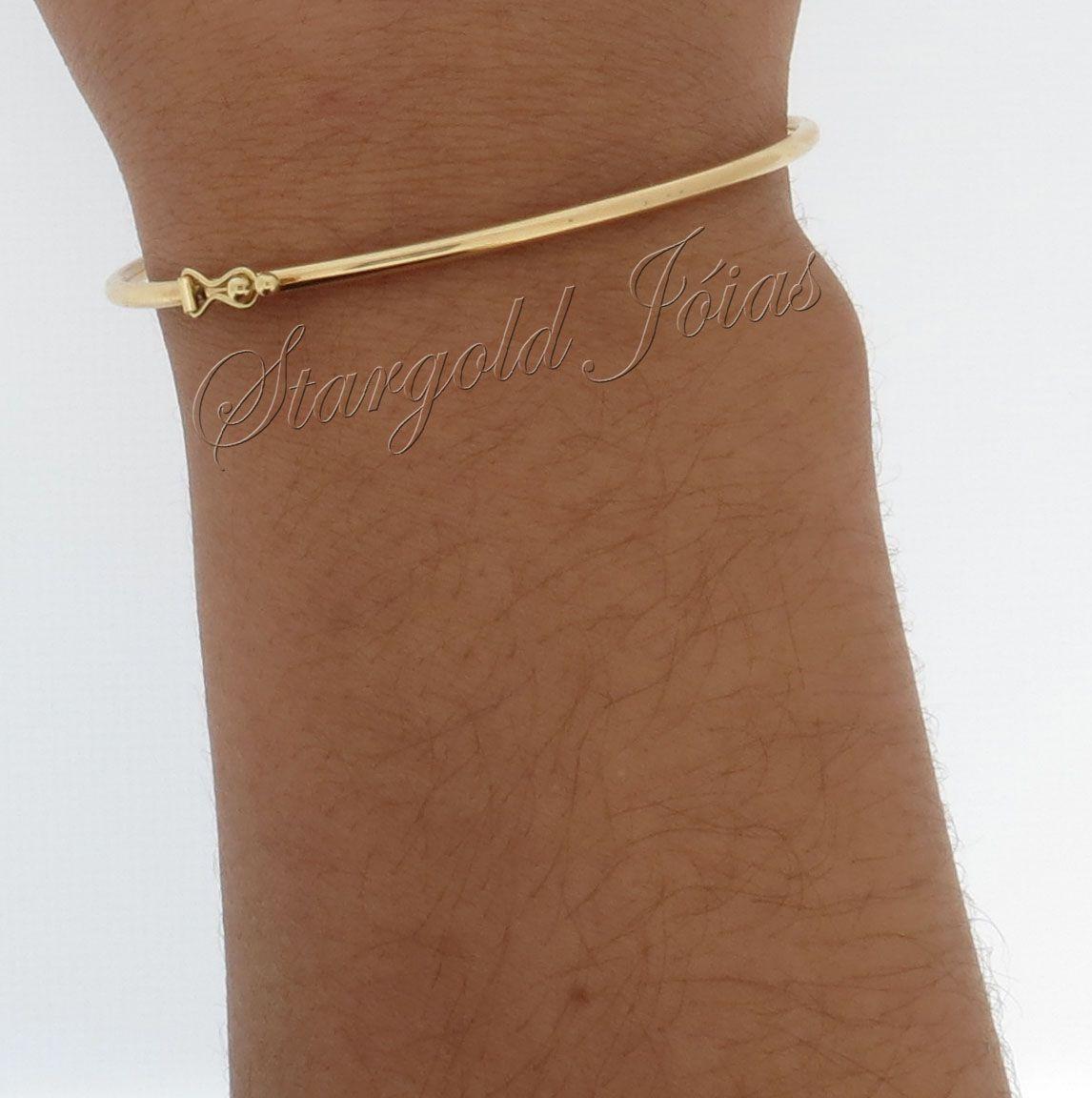 Bracelete com Trava de Segurança Fio Redondo Ouro 18k