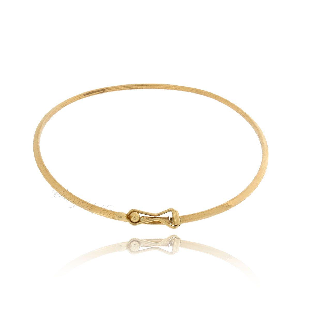 Bracelete com Trava de Segurança Fio Triangular Ouro 18k