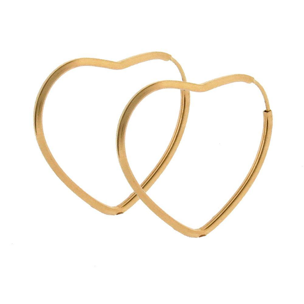 Brinco Argola Formato Coração Ouro 18k