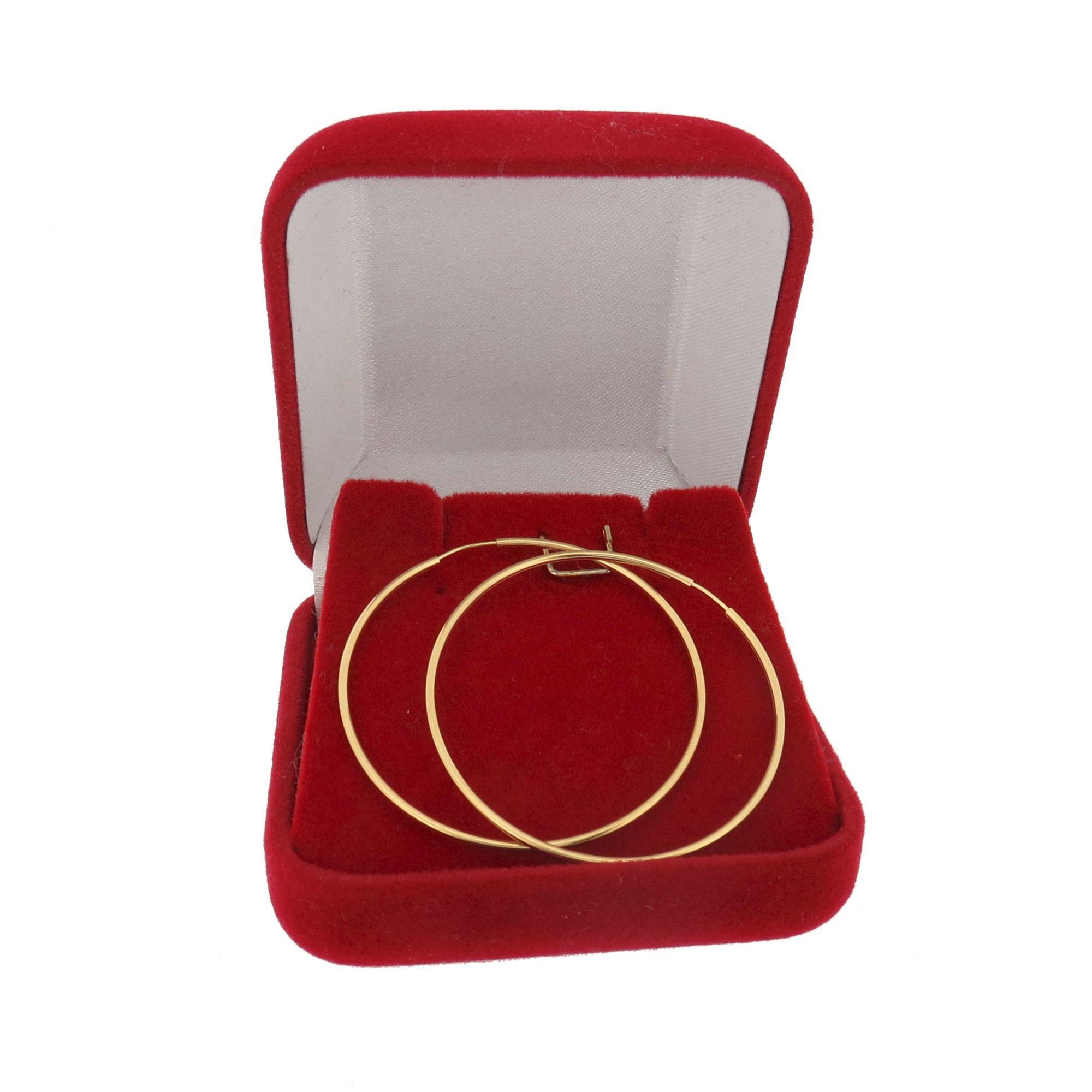 Brinco Argola redonda 3,4cm Ouro 18k