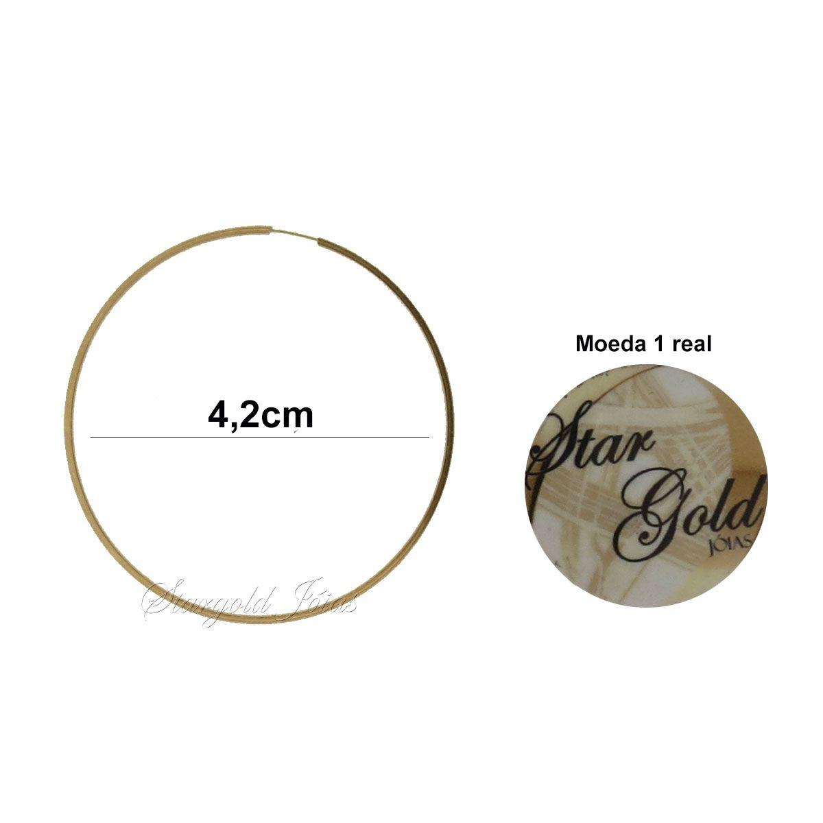 Brinco Argola Redonda 4,2cm Fio Quadrado Ouro 18k