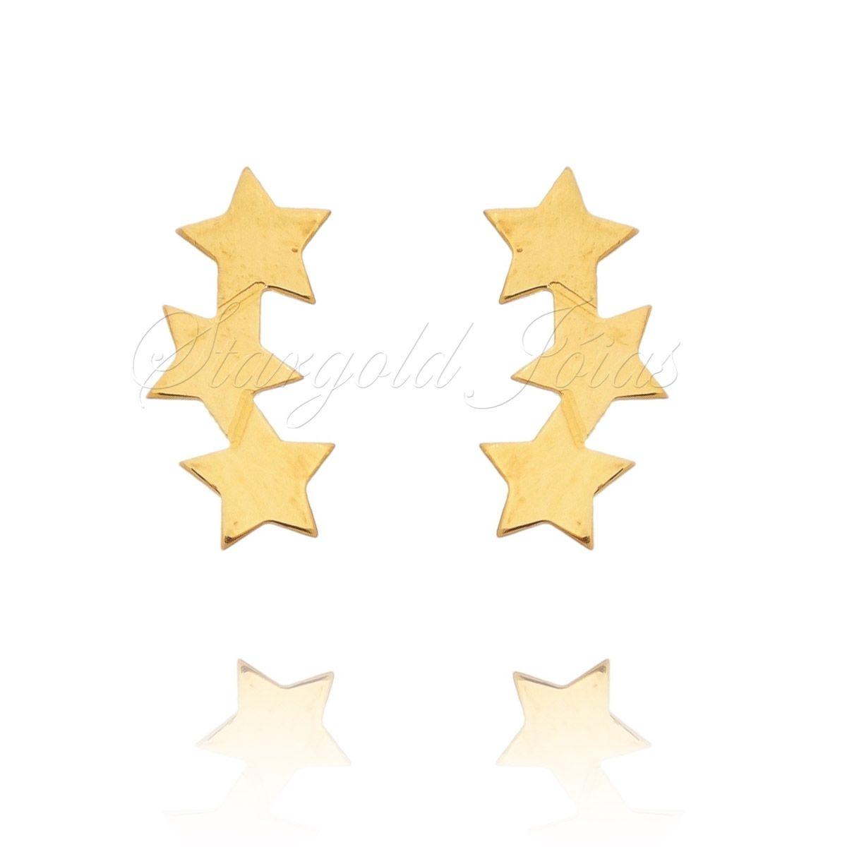 Brinco Estrelas  Ouro 18k