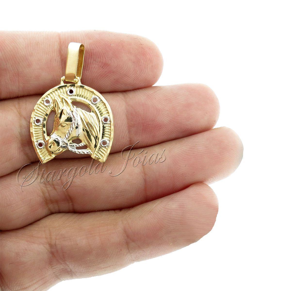 Pingente Cavalo Ferradura Ouro 18k