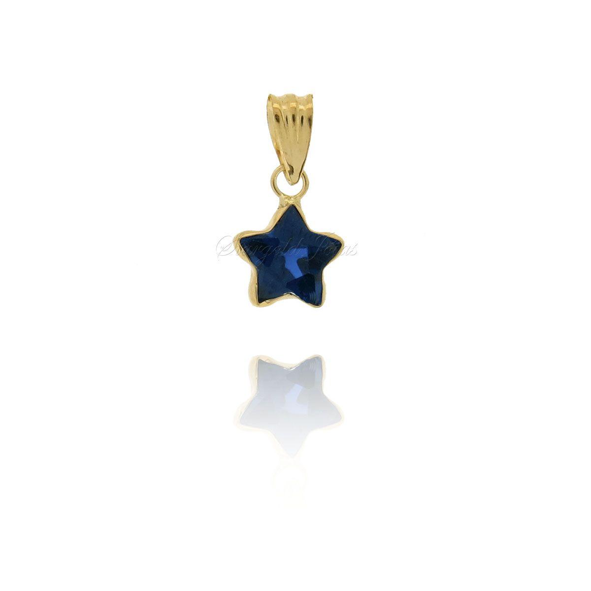 Pingente Estrela 6mm Modelado Ouro 18k