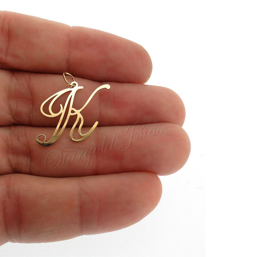 Pingente Letra K Ouro 18k