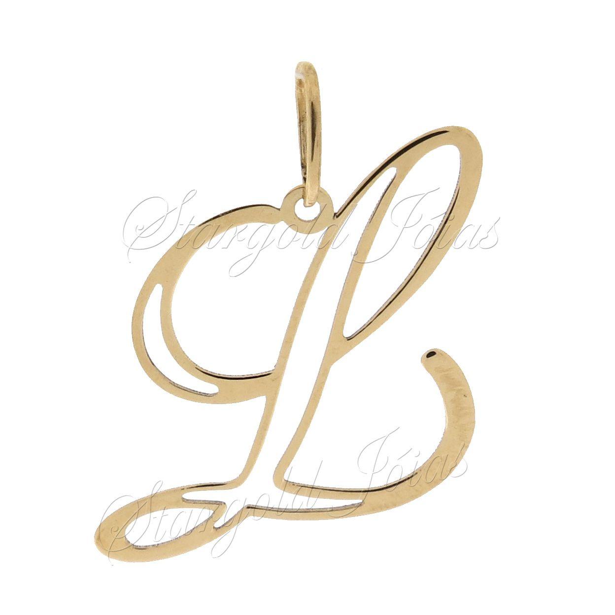 Pingente Letra L Ouro 18k