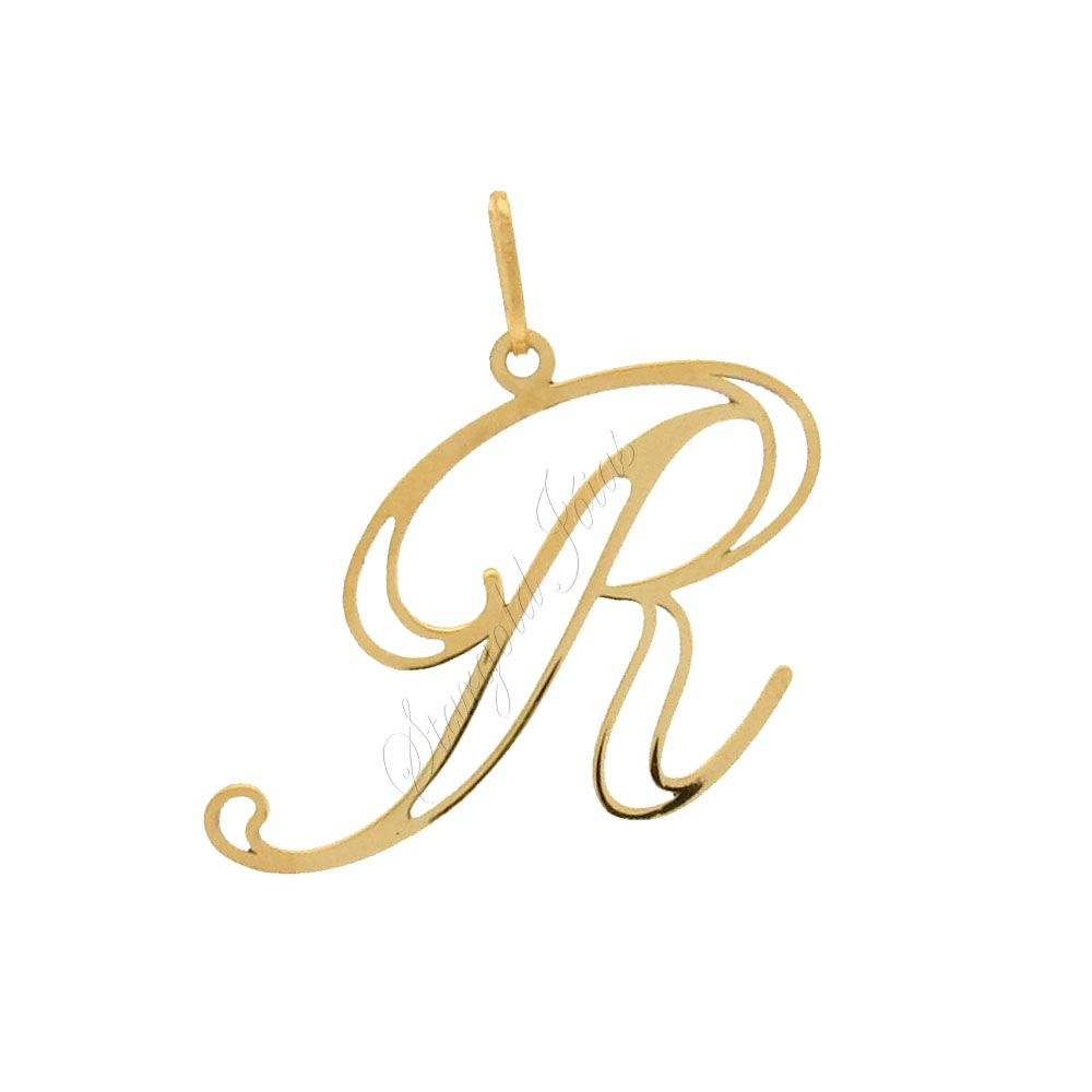 Pingente Letra R Ouro 18k