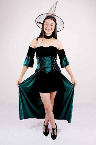 Fantasia Feminina Halloween Bruxa Verde