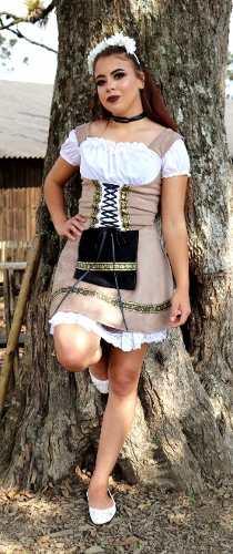 Vestido Suede Traje Feminino Bege