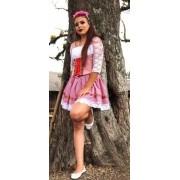 Saia E Blusinha Alemãs Tradicional Rosa