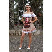 Vestido Feminino Traje Frida Suede Luxuoso Bege