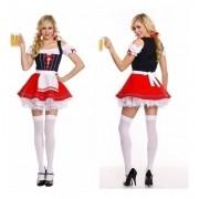 Vestido Alema Vermelho com preto e branco Oktoberfest Moderno curto