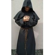 Capa Medieval Padre Masculino Preto Capuz